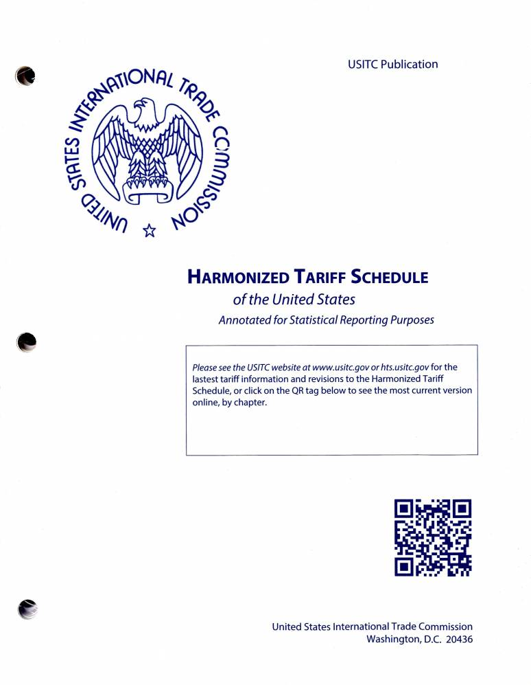 2019 Harmonized Tariff Schedule Harmonized Tariff Schedules Of The Annotated For Statistical