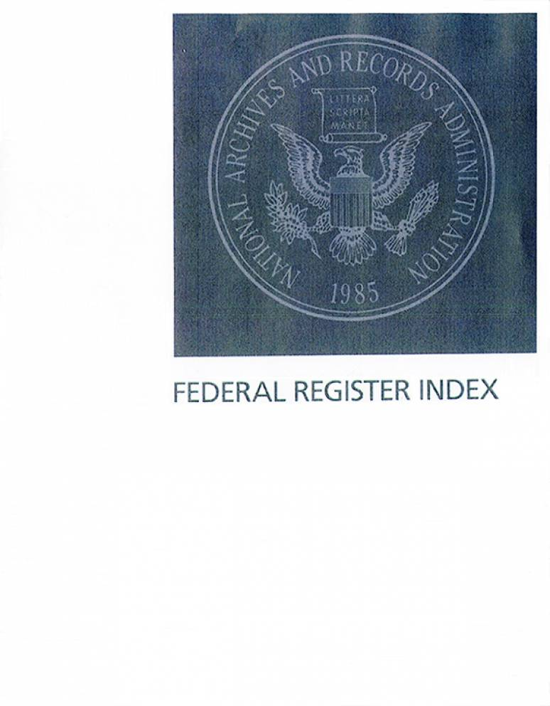 Federal Register Index, V. 79, Nos. 1-21, January 2014 (Microfiche)