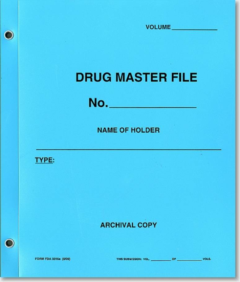 Drug Master File (Blue Polyethylene Folder)