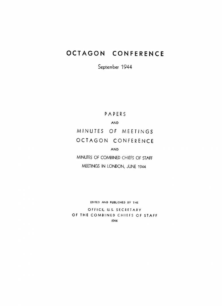 The Octagon Conference: September 1944
