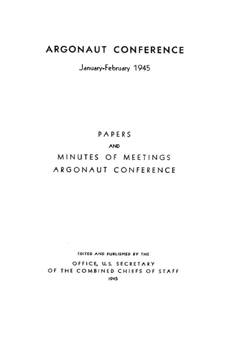 The Argonaut Conference: January–February 1945