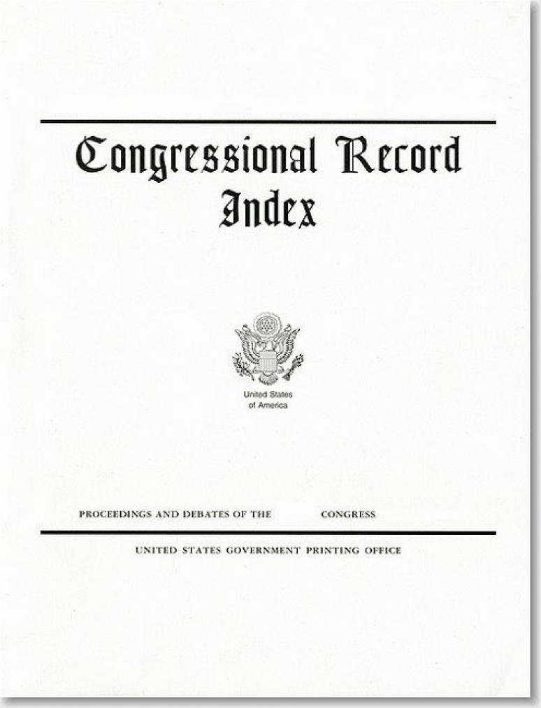 Congressional Record Index, Volume 152, A-K and L-Z and History of Bills (Hardcover)
