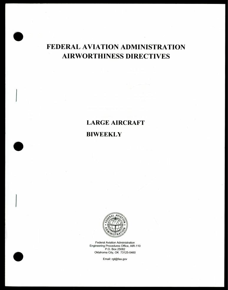Federal Aviation Administration Airworthiness Directives, Bk. 2: Large Aircraft