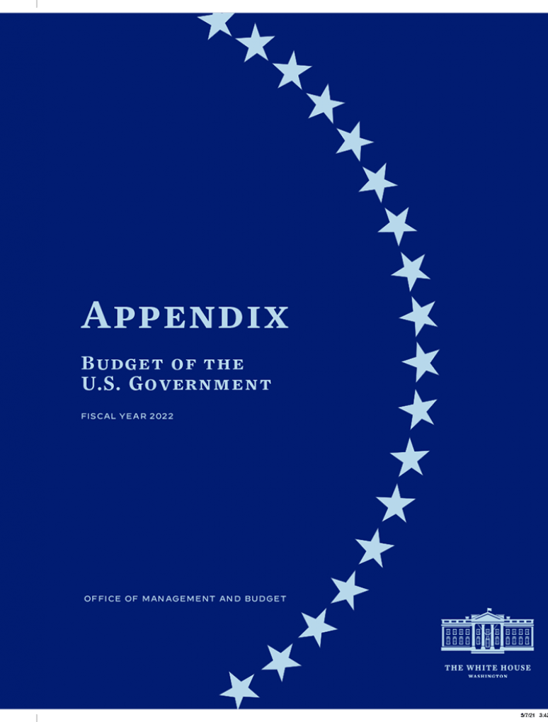 Budget of The United States Government, Appendix, Fiscal Year 2022