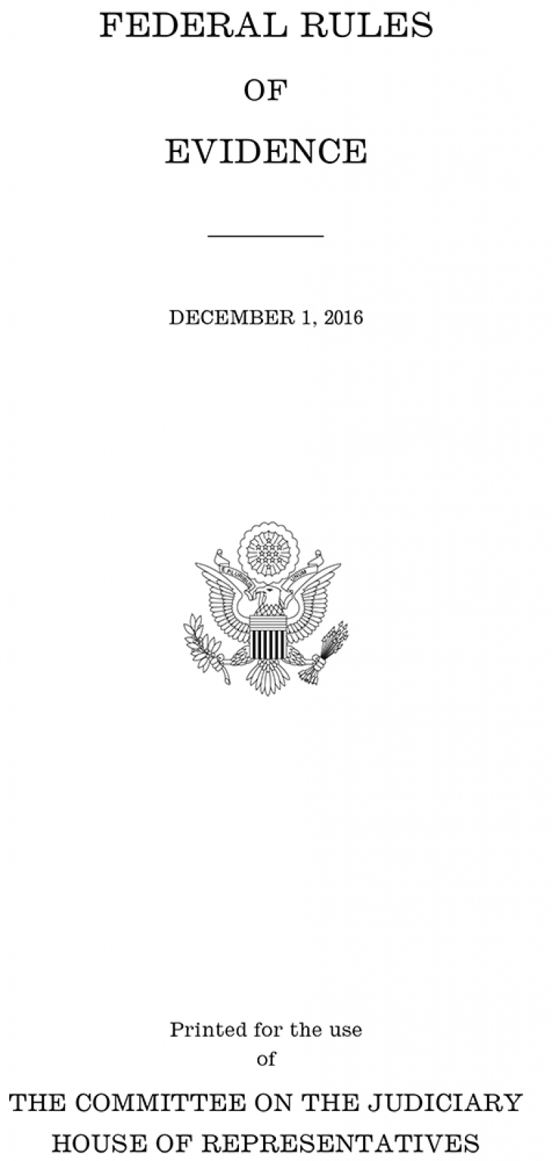 Federal Rules Of Evidence, December 1, 2015
