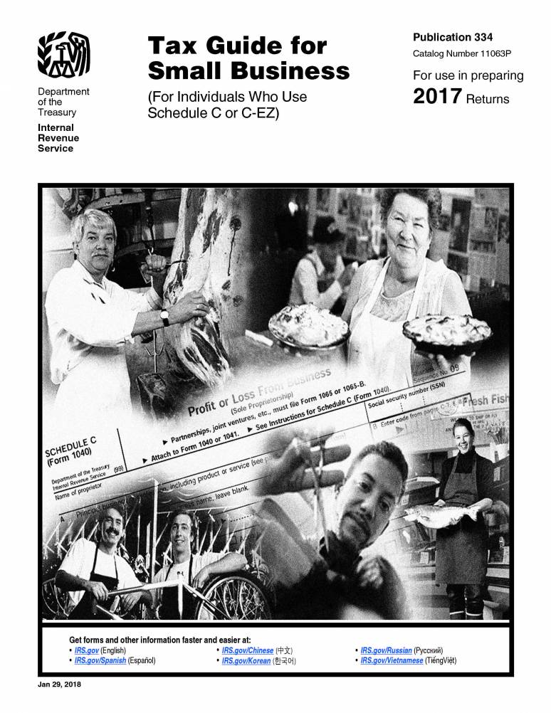 2018 IRS Publication 334 (tax Guide For Small Business For Individualswho Use Schedule C Or C-ez)
