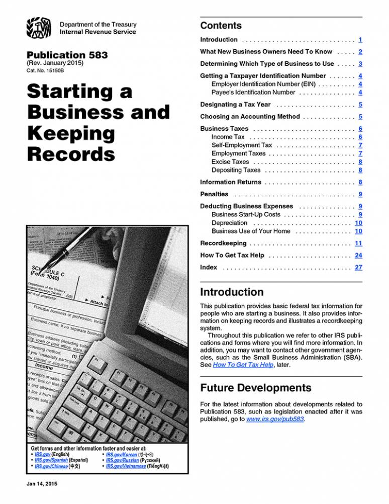 2018 IRS Publication 583 (starting A Business And Keeping Records)
